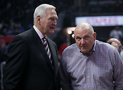 November 15, 2018 - Los Angeles, California, U.S - (R) Owner, Steve Ballmer of the Los Angeles Clippers talks to advisor Jerry West during their NBA game with the San Antonio Spurs on Thursday November 15, 2018 at the Staples Center in Los Angeles, California. (Credit Image: © Prensa Internacional via ZUMA Wire)