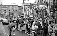 Gascoigne Wood and Whitemoor Branch banners. 1993 Yorkshire Miner's Gala. Wakefield.