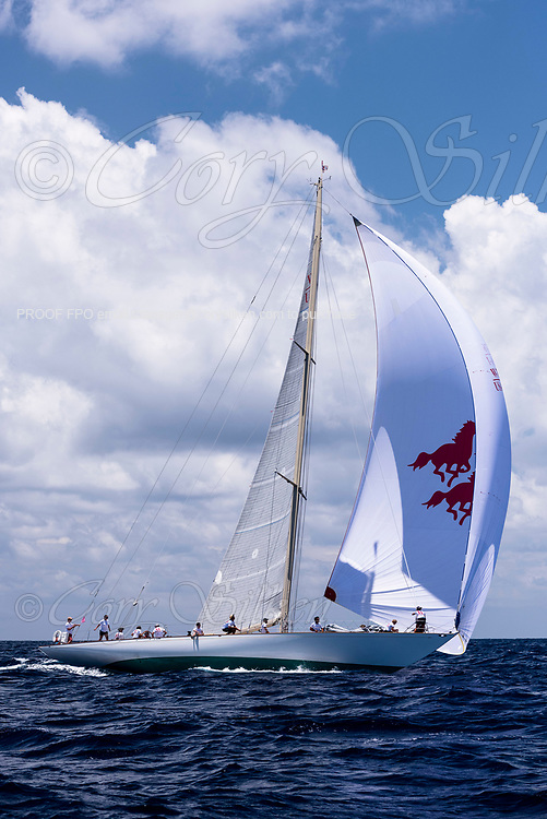 Wild Horses sailing in the Antigua Classic Yacht Regatta, Old Road Race.