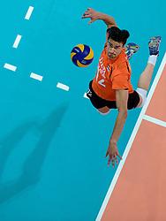 08-06-2013 VOLLEYBAL: WORLD LEAGUE NEDERLANDS - JAPAN: APELDOORN<br /> Nederland wint met 3-1 van Japan / Wytze Kooistra<br /> &copy;2013-FotoHoogendoorn.nl
