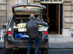 © Licensed to London News Pictures. 04/03/2016. London, UK.  Flowers arrive at Spencer house in central London ahead of the wedding of Rupert Murdoch and Jerry Hall at Spencer House on February 04, 2016. The couple, who announced their engagement in January, had a private ceremony today, with a public service expected at Fleet Street's St Bride's Church on Saturday. Photo credit: Ben Cawthra/LNP