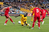 SYDNEY, AUSTRALIA - NOVEMBER 20: Australian forward Awer Mabil (25) goes down at the international soccer match between Australia and Lebanon at ANZ Stadium in NSW, Australia. on November 20, 2018. (Photo by Speed Media/Icon Sportswire)