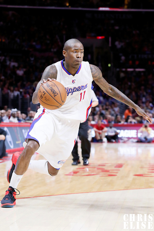 11 February 2015: Los Angeles Clippers guard Jamal Crawford (11) dribbles during the Los Angeles Clippers 110-95 victory over the Houston Rockets, at the Staples Center, Los Angeles, California, USA.