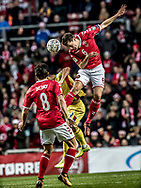 FOOTBALL: Andreas Christensen (Denmark) rises high above Florin Andone (Romania) during the World Cup 2018 UEFA Qualifier Group E match between Denmark and Romania at Parken Stadium on October 8, 2017 in Copenhagen, Denmark. Photo by: Claus Birch / ClausBirch.dk.