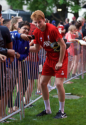BOSTON, MASSACHUSETTS, USA - Monday, July 22, 2019: Liverpool's Sepp van den Berg with supporters after a training session at Ohiri Field near Harvard Stadium on day seven of the club's pre-season tour of America. (Pic by David Rawcliffe/Propaganda)
