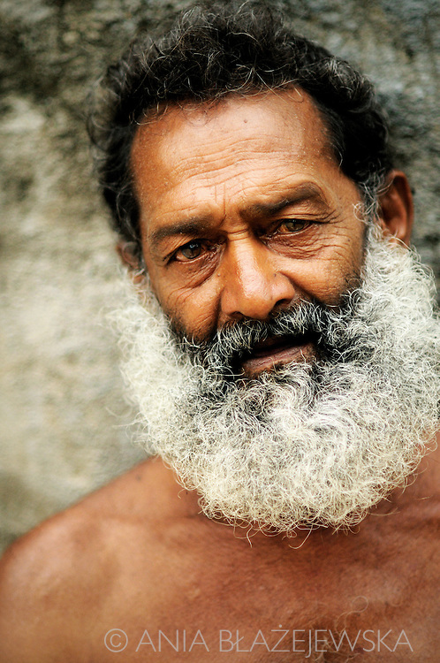Sri Lanka, Dambulla. Portrait of a bearded man.