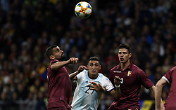 March 22, 2019 - Madrid, Madrid, Spain - Argentina's Suarez and Venezuela's Mikel Villanueva are seen in action during the International Friendly match between Argentina and Venezuela at the wanda metropolitano stadium in Madrid. (Credit Image: © Manu Reino/SOPA Images via ZUMA Wire)