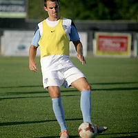 Wilmington Hammerheads FC's Christian Davidson warms up before their friendly match against Toronto FC Wednesday June 18, 2014 at Legion Stadium in Wilmington, N.C. (Jason A. Frizzelle)
