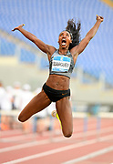 Caterine Ibarguen (COL) places second in the women's long jump at 22-6 1/2 (6.87m) during the 39th Golden Gala Pietro Menena in an IAAF Diamond League meet at Stadio Olimpico in Rome on Thursday, June 6, 2019. (Jiro Mochizuki/Image of Sport)