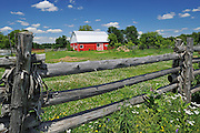 red barn and fence<br /> Limoges<br /> Ontario<br /> Canada