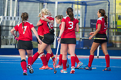 Holcombe celebrate winning. East Grinstead v Holcombe - Semi-Final - Investec Women's Hockey League Finals, Lee Valley Hockey & Tennis Centre, London, UK on 22 April 2017. Photo: Simon Parker