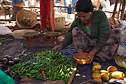 A lady selling chillies in the market at Finote Selam, Ethiopia.