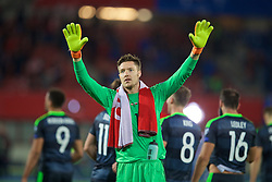 VIENNA, AUSTRIA - Thursday, October 6, 2016: Wales' goalkeeper Wayne Hennessey applauds the travelling supporters after the 2-2 draw with Austria during the 2018 FIFA World Cup Qualifying Group D match at the Ernst-Happel-Stadion. (Pic by David Rawcliffe/Propaganda)
