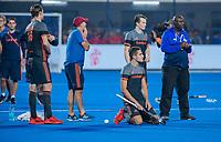 BHUBANESWAR, INDIA -  Teleurstelling bij Oranje  na de verloren shoot outs na  de  finale tussen België en Nederland (0-0)  bij het WK Hockey heren in het Kalinga Stadion. Belgie wint de shoot outs . COPYRIGHT KOEN SUYK