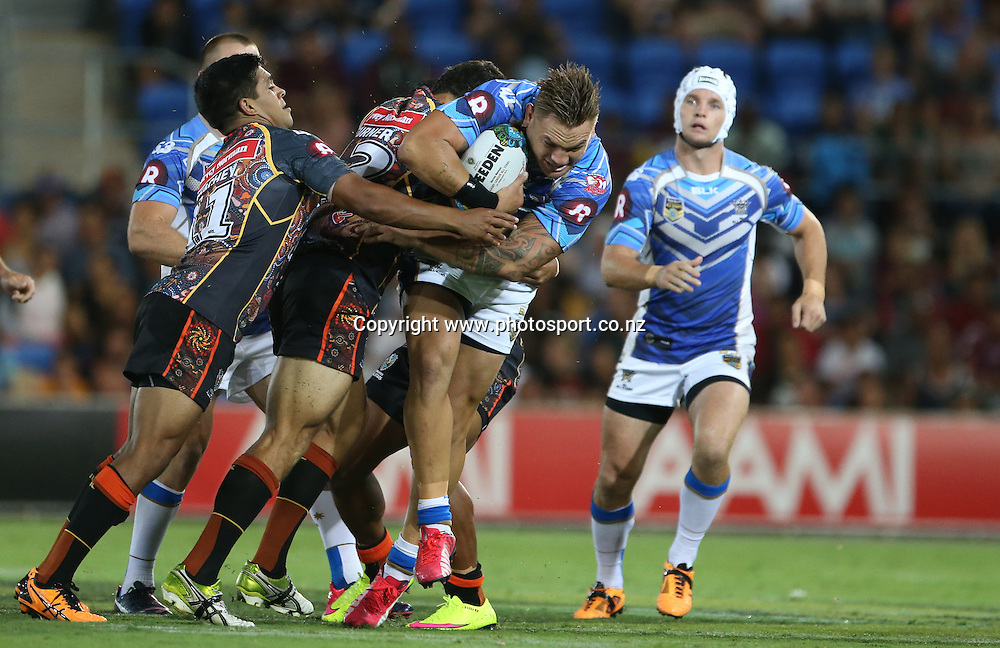 Rugby League - All Stars v Indigenous , Gold Coast 13 February 2015<br /> NRL All Stars' Jared Warea-Hargreaves in action<br /> Photograph :  Jason O'Brien