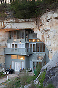 Festus, Missouri: The exterior of the Sleeper cave house, where Curt and Deborah Sleeper built a 2,000 square foot home inside a 17,000 square foot cave. There is a forest (and a neighbor's home) on part of the top of their cave. (Photo: Ann Summa).