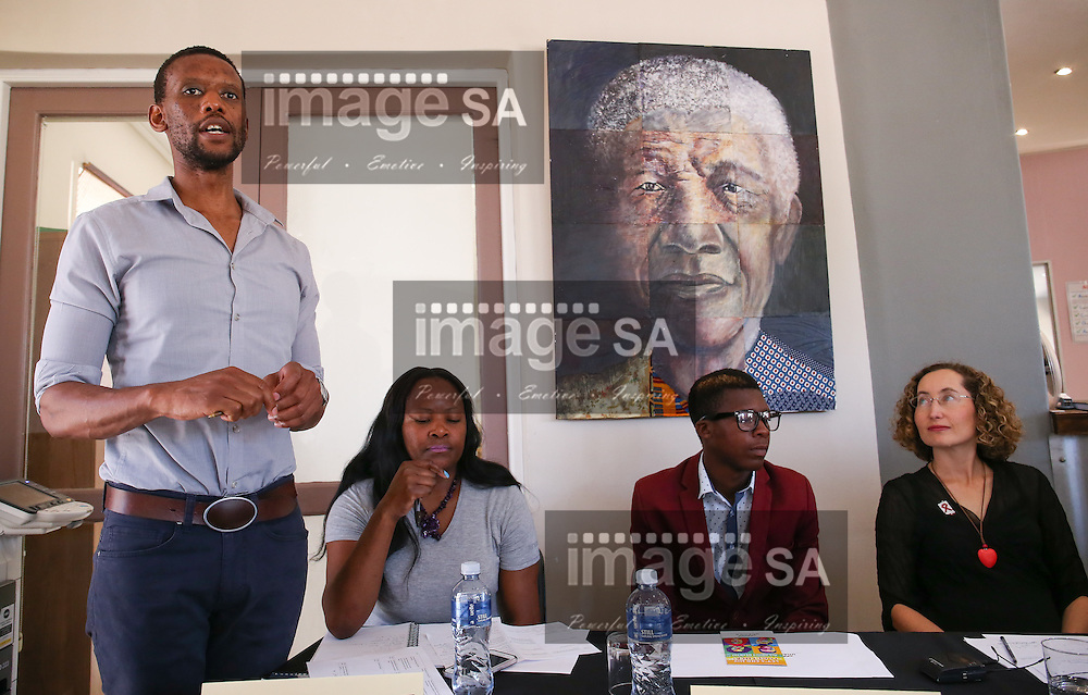 CAPE TOWN, SOUTH AFRICA - Wednesday 30 November 2016, Mr Ntando Yola, a community mobilisation officer as Ms Ntombozuko Kraai, a member of hehe Emavundleni Community Advisory Board , Mr Awethu Benenengu (20) is a participant in the HVTN 702 study and Dr Danielle Crida, Emavundleni&rsquo;s Principal Investigator for the HVTN 702 study listens during the launch of a major study to test the efficacy of a vaccine to prevent HIV infection at the Emavundleni Research Centre in Old Crossroads, Cape Town. With more than 1 000 people in South Africa becoming infected with HIV each day, a successful HIV vaccine is seen as the key to ending the epidemic. This new preventive vaccine efficacy trial, called HVTN 702, is a critically important study and its start is a special moment in HIV research. HVTN 702 is the only current HIV vaccine efficacy trial in the world and is being conducted solely in South Africa. It has been seven years since the world last saw the start of an efficacy trial of an HIV vaccine. The South African study will test a modified form of the vaccine regimen used in RV144, a trial conducted in Thailand, which reported in 2009 that the candidate vaccine was 31.2% effective in preventing new HIV infections 3.5 years after first vaccination. HVTN 702 builds on the foundation of the promising Thai trial findings and seeks to increase the level of efficacy and durability of the vaccine response. If HVTN 702 is shown to be effective against new infections, this South African trial could lead to the licensing of the world&rsquo;s first HIV vaccine.<br /> Photo by Roger Sedres/ImageSA