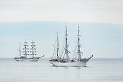 Legends of the sea. Old sailboats attending to the Tall Ship Races, on their way to Ålesund. From left: Guayas, Statsraad Lehmkuhl | Legender på sjøen. Gamle seilbåter som er med i The Tall Ships Races, på vei til Ålesund.