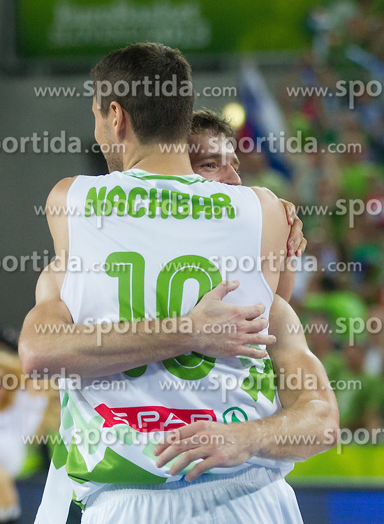 Bostjan Nachbar of Slovenia and Goran Dragic of Slovenia celebrate during basketball match between National teams of Slovenia and Italy in Round 2 at Day 9 of Eurobasket 2013 on September 12, 2013 in Arena Stozice, Ljubljana, Slovenia. (Photo by Vid Ponikvar / Sportida.com)