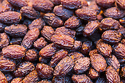 Dried Mejool or Medjool dates on display for sale in Misir Carsisi Egyptian Bazaar food and spice market in Istanbul, Turkey