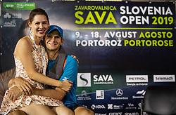 Blaz Rola of Slovenia with his wife after winning in 2nd Round of ATP Challenger Zavarovalnica Sava Slovenia Open 2019, day 6, on August 14, 2019 in Sports centre, Portoroz/Portorose, Slovenia. Photo by Vid Ponikvar / Sportida