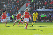 Rotherham United defender (on loan to Brighton last season) Greg Halford (15) takes penalty and scores to go 2-1 up and win match during the Sky Bet Championship match between Rotherham United and Leeds United at the New York Stadium, Rotherham, England on 2 April 2016. Photo by Ian Lyall.