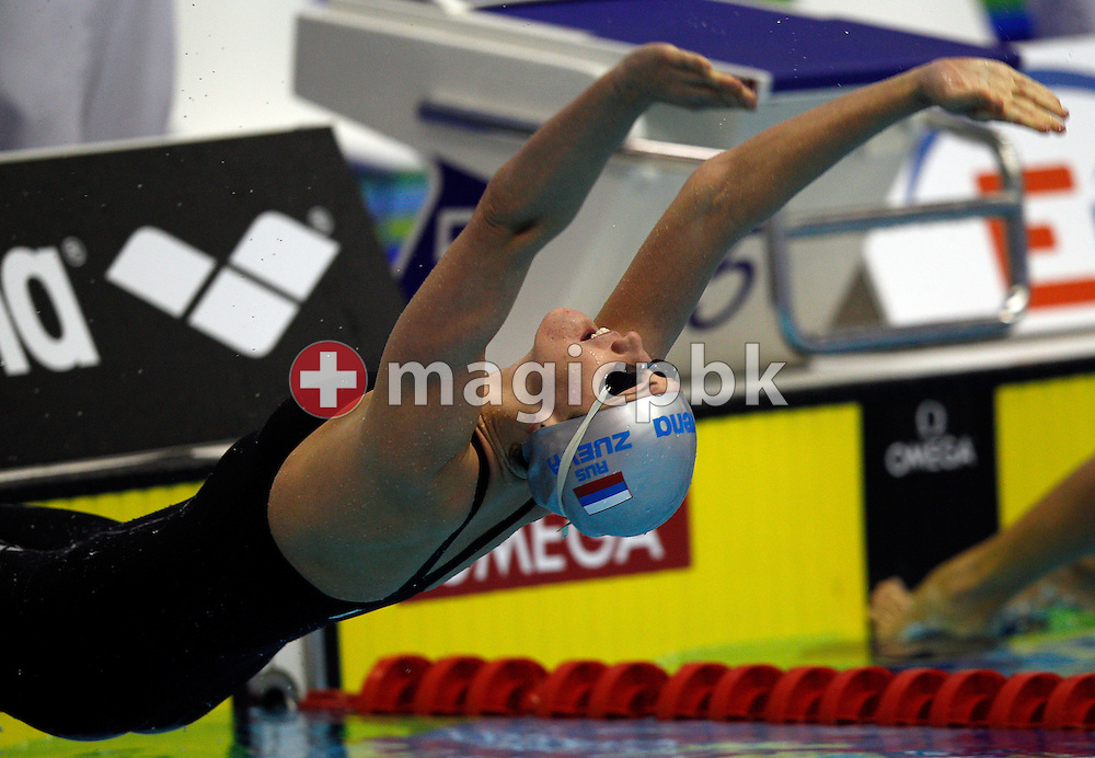 Anastasia ZUEVA of Russia starts to win the women's 50m Backstroke Final during the 15th European Short Course Swimming Championships in Szczecin, Poland, Saturday, Dec. 10, 2011. (Photo by Patrick B. Kraemer / MAGICPBK)