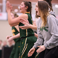 1st year guard Faith Reid (13) of the Regina Cougars in action during the Women's Basketball Playoff Game on February  16 at Centre for Kinesiology, Health and Sport. Credit: Arthur Ward/Arthur Images