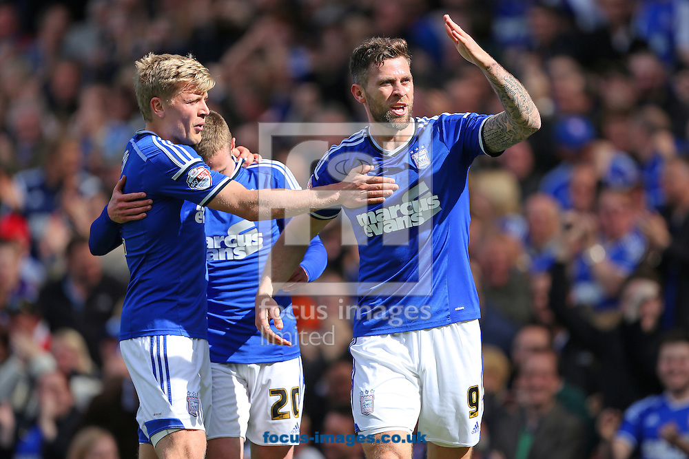 Daryl Murphy (right) of Ipswich Town celebrates after scoring the opening goal of the Sky Bet Championship match against Nottingham Forest at Portman Road, Ipswich<br /> Picture by Richard Calver/Focus Images Ltd +44 7792 981244<br /> 25/04/2015