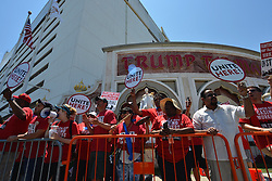 Presumptive Democratic nominee Hillary Clinton visits Trump Taj Mahal Union workers at strike during a July 7th, 2016 campaign stop in Atlantic City, New Jersey.