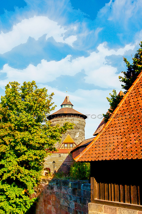A watercolor photograph of Nuremberg Germany