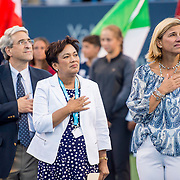 August 22, 2016, New Haven, Connecticut: <br /> Tournament Director Anne Worcester looks on alongside New Haven Mayor Toni Harp and Yale University President Peter Salovey during the Opening Ceremonies on Day 4 of the 2016 Connecticut Open at the Yale University Tennis Center on Monday August  22, 2016 in New Haven, Connecticut. <br /> (Photo by Billie Weiss/Connecticut Open)