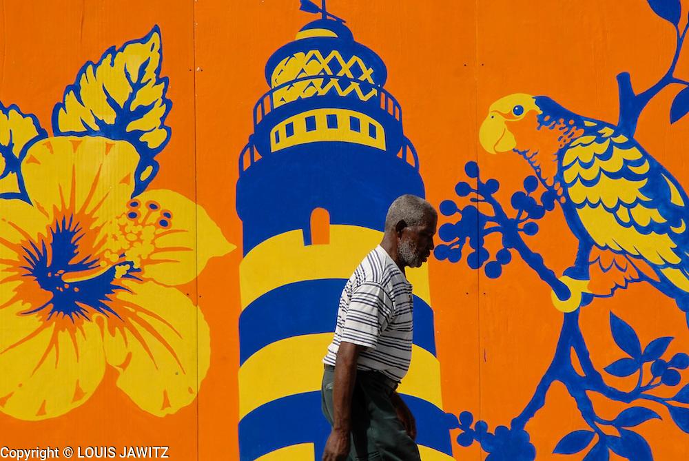 Travel Destinations, City ,Bermuda ,Hamilton. Island ,parrot sign, bill board   , Horizontal, Outdoors , Color Image, Caribbean Pastel Colored,