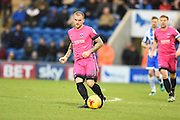 Hartlepool player Lewis Alessandra passes the ball in the second half during the EFL Sky Bet League 2 match between Colchester United and Hartlepool United at the Weston Homes Community Stadium, Colchester, England on 25 February 2017. Photo by Ian  Muir.