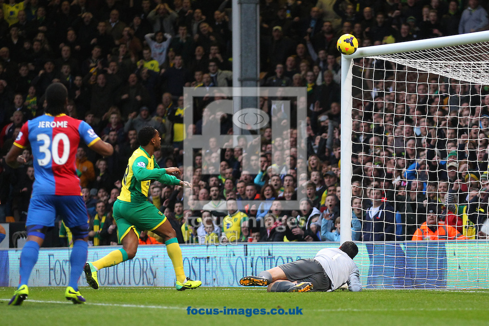 Picture by Paul Chesterton/Focus Images Ltd +44 7904 640267<br /> Julian Speroni of Crystal Palace tries in vain to stop a shot from Johan Elmander of Norwich which hits the bar and bounces onto the line and back into play during the Barclays Premier League match at Carrow Road, Norwich.