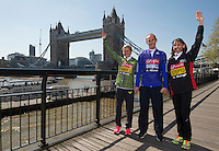 Virgin Money London Marathon 2015<br /> <br /> At a press conference featuring the the leading British contenders for the London Marathon.<br /> <br /> Left to right:<br /> Sonia Samuels UK<br /> Scott Overall UK<br /> Emma Stepto UK<br /> <br /> Photo: Bob Martin for Virgin Money London Marathon<br /> <br /> This photograph is supplied free to use by London Marathon/Virgin Money.