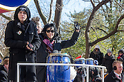 NEW YORK, NY, USA, Nov. 28, 2013. Joan Jett and the Blackhearts ride a float in the 87th Annual Macy's Thanksgiving Day Parade as it moves down Central Park West.