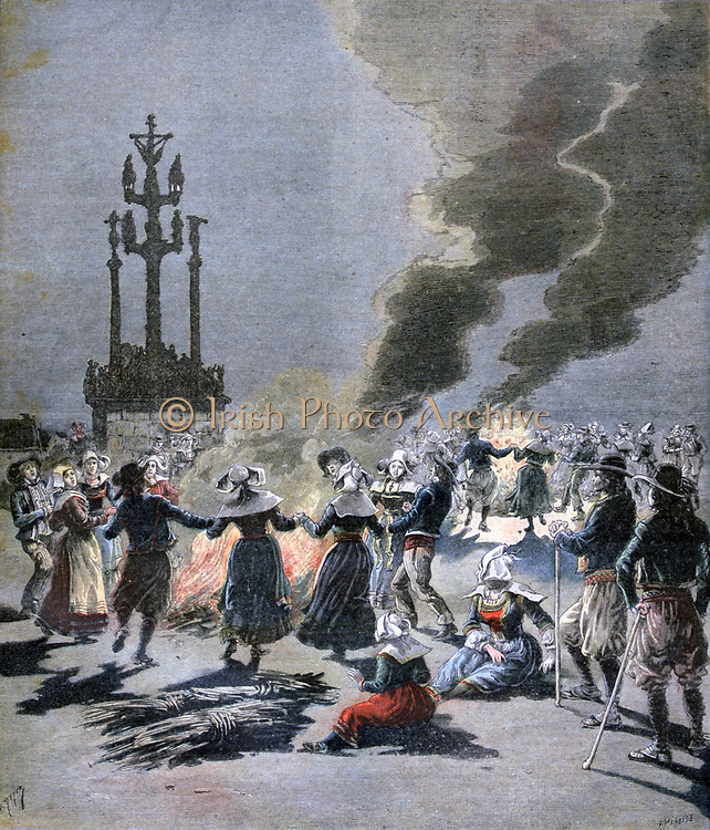 Feast of the Nativity of St John the Baptist, 24 June:   Bretons in traditional costume, dancing round ceremonial fires lit on St John's Eve.  From 'Le Petit Journal', Paris, 1 July 1893. France, Religion, Christian