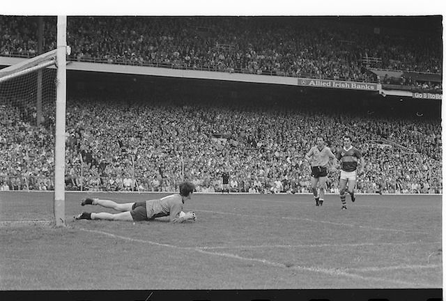 Dublin goalie dives to save the ball during the All Ireland Senior Gaelic Football Championship Final Kerry v Dublin at Croke Park on the 22nd September 1985. Kerry 2-12 Dublin 2-08.
