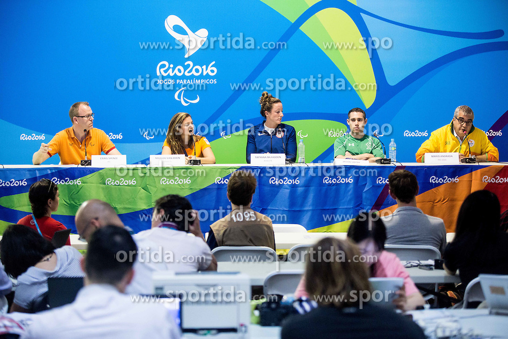 Craig Spence of IPC, Athlete Marlou van Rhijn, Athlete Tatyana McFadden, Athlete Jason Smyth and Mario Andrada of Rio 2016 at press conference in the Paralympic Village 1 day ahead of the Rio 2016 Summer Paralympics Games on September 6, 2016 in Rio de Janeiro, Brazil. Photo by Vid Ponikvar / Sportida