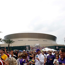 Jan 9, 2012; New Orleans, LA, USA; A general view of fans in champions square before the 2012 BCS National Championship game between the LSU Tigers and the Alabama Crimson Tide at the Mercedes-Benz Superdome.  Mandatory Credit: Derick E. Hingle-US PRESSWIRE
