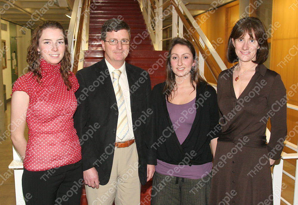 Pictured at a reception to mark NUI Galway's success in the annual Dr Henry Hutchinson Stewart Medical Scholarships were from (l-r) Maeve O'Reilly, Loughrea, Galway, 2nd Prize winner for Pathology; Prof B.G. Loftus, Dean of Faculty of Medicine and Health Sciences, NUI Galway; Nina Orfali, Ennis, Co. Clare, 3rd Prize winner for Paediatrics; Prof. Grace Callagy, Department of Pathology, NUI Galway. The scholarships, awarded by the National University of Ireland, are based on the results of examinations in the Faculties of Medicine and Health Sciences.<br />