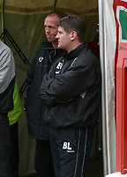 Photo: Dave Linney.<br />Walsall v Scunthorpe United. Coca Cola League 1. 11/02/2006.Walsall caretaker mgr Mick Halsall (L) with Scunthorpe mgr Brian Laws before the game