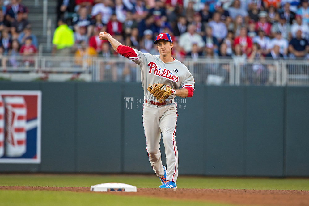 MINNEAPOLIS, MN- JULY 15: National League All-Star Chase Utley #26 of the Philadelphia Phillies during the 85th MLB All-Star Game at Target Field on July 15, 2014 in Minneapolis, Minnesota. (Photo by Brace Hemmelgarn) *** Local Caption *** Chase Utley