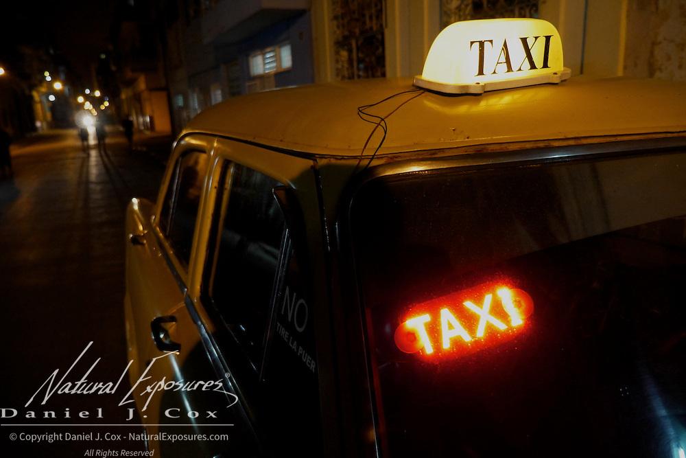 A Taxi on the street of Havana, Cuba.