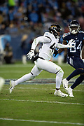 Jacksonville Jaguars middle linebacker Myles Jack (44) chases the action during the week 14 regular season NFL football game against the Tennessee Titans on Thursday, Dec. 6, 2018 in Nashville, Tenn. The Titans won the game 30-9. (©Paul Anthony Spinelli)