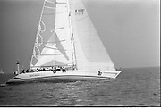 Round Ireland Yacht Race.  (R81)..1988..18.06.1988..06.18.1988..18th June 1988..The Round Ireland Yacht Race set sail from Wicklow today. Yachts from all over Europe took part in the start as the race got underway. The race is sponsored by Cork Dry Gin...Image shows race leader Whyte and Mackay Drum heading out into the open sea.