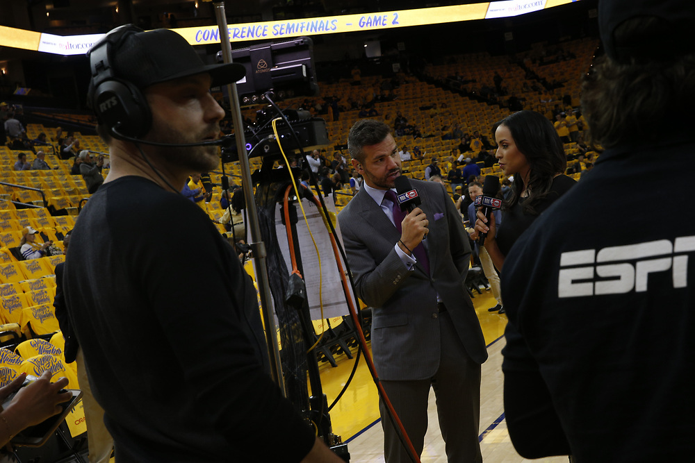 during Game 2 of the Western Conference semifinals, Tuesday, May 1, 2018, in Oakland, Calif.
