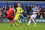 Queens Park Rangers goalkeeper Alex Smithies (1) saves from Rotherham United striker Danny Ward (9) during the EFL Sky Bet Championship match between Queens Park Rangers and Rotherham United at the Loftus Road Stadium, London, England on 18 March 2017. Photo by Matthew Redman.