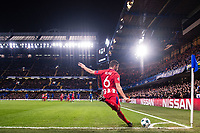 LONDON,ENGLAND - DECEMBER 05: Atletico Madrid (6) Koke  take corner kick during the UEFA Champions League group C match between Chelsea FC and Atletico Madrid at Stamford Bridge on December 5, 2017 in London, United Kingdom.  <br /> ( Photo by Sebastian Frej / MB Media )